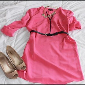 Cute and Sassy Pink Belted Dress